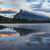 Twilight Colors Setting Over Mt Rundle - Vermillion Lakes, Banff National Park, AB, Canada