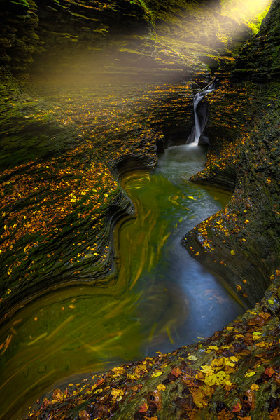 Streaking Light Into The Opening Watkins Glen State Park, Finger Lakes Region, Upstate New York, NY