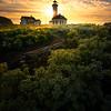 Surreal Sun Glow Lights Up Behind Point Wilson Lighthouse - Point Wilson Lighthouse, Fort Worden State Park, Port Townsend, WA