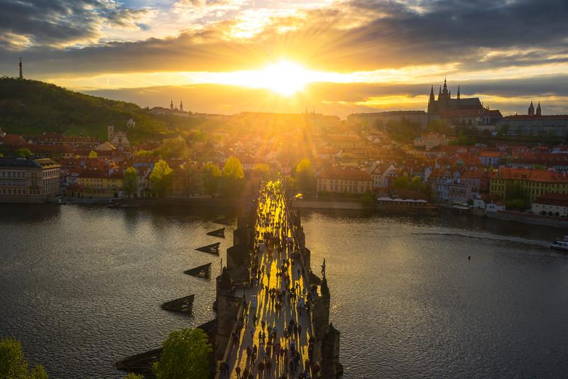 Sunburst Sunset Over Prague