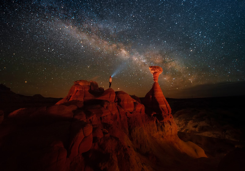 Toadstool Hoodoos And Admirer Of The Stars - Toadstool Hoodoos, Kanab, Utah