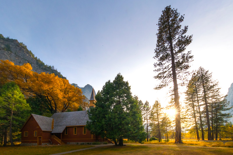 Yosemite Chapel In Late Afternoon Light - Lower Yosemite Valley, Yosemite National Park, California