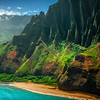 Sprinkled Light Shining On The Spines Of Na Pali - Na Pali Coastline, Kauai, Hawaii
