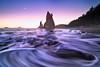 Wave Patterns Crashing On Beach During Twilight - Rialto Beach, Olympic National Park, WA
