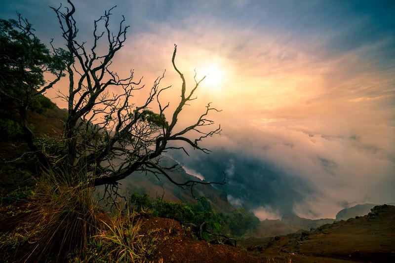 Sun Glowing Through The Clouds On Waimea - Waimea Canyon State Park, West Side, Kauai