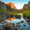 Valley View At Sunset - Lower Yosemite Valley, Yosemite National Park, CA