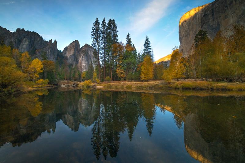 Cathedral Spires And El Captain From Tahiti Beach - Lower Yosemite Valley, Yosemite National Park, California