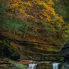 Hillsides Of Color Hanging Over The Waterfalls - - Robert Treman Park, Finger Lakes Region, Upstate NY, NY