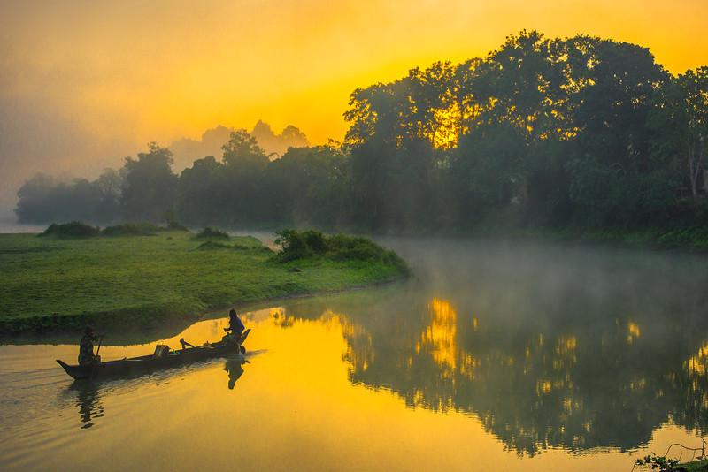 Passerbys At The Peak Of Sunrise Kaziranga National Park, Assam, North-Eastern India