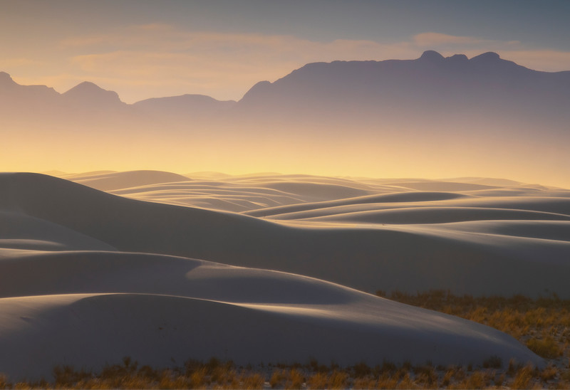 White Sands Sunset Looking Into A Dust Storm - White Sands National Monument, New Mexico