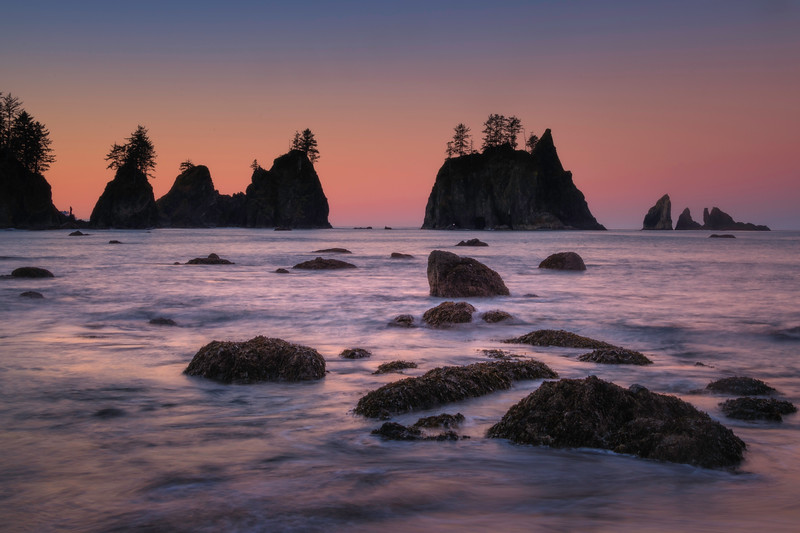 Morning Sunglow Over Arches On Shi Shi - Shi Shi Beach, Point Of Arches, Olympic National Park, Washington