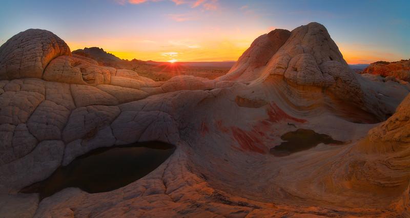 Pano White Pockets Sunset - White Pockets, Vermillion Cliffs National Monument, Arizona