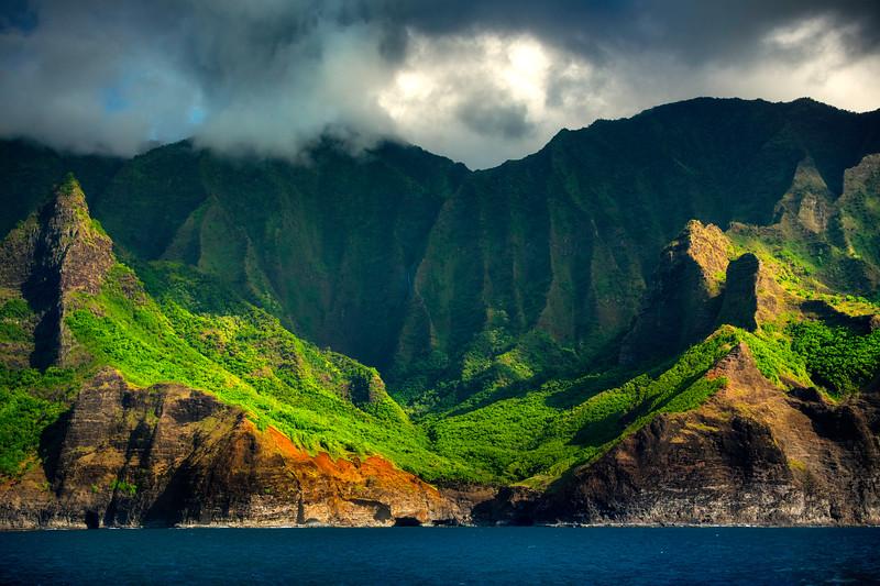 Waterfall Wall Framed Between Spire Peaks - Na Pali Coastline, Kauai, Hawaii