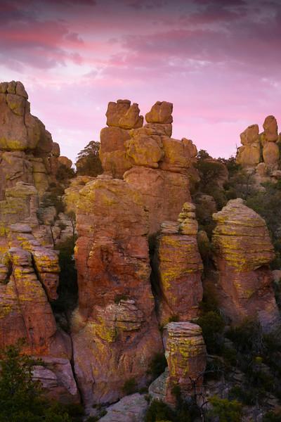 Totem Like Hoodoos Sunset - Chiricahua National Monument, Arizona