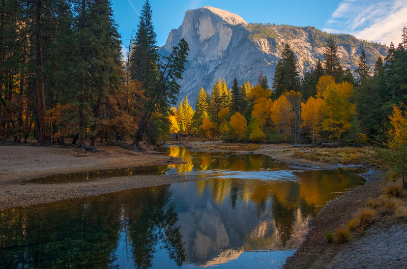 Half Dome In Afternoon Light From Stoneman Bend - Lower Yosemite Valley, Yosemite National Park, California