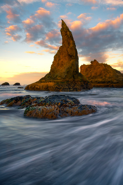 The Witches Hat Under Sunrise Clouds - Bandon Beach, Oregon Coast