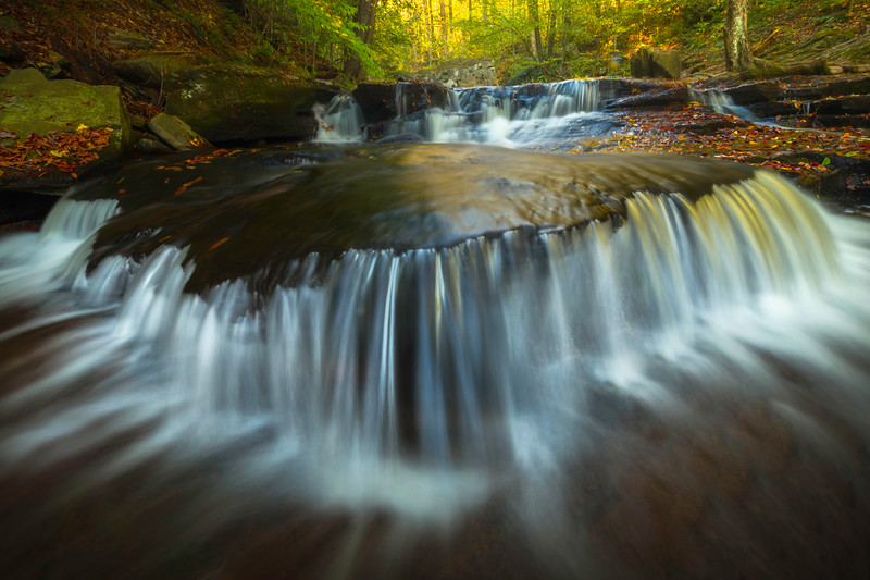 Overflow Reflections Of Cascde Fall Light-Ricketts Glen State Park, Pennsylvania