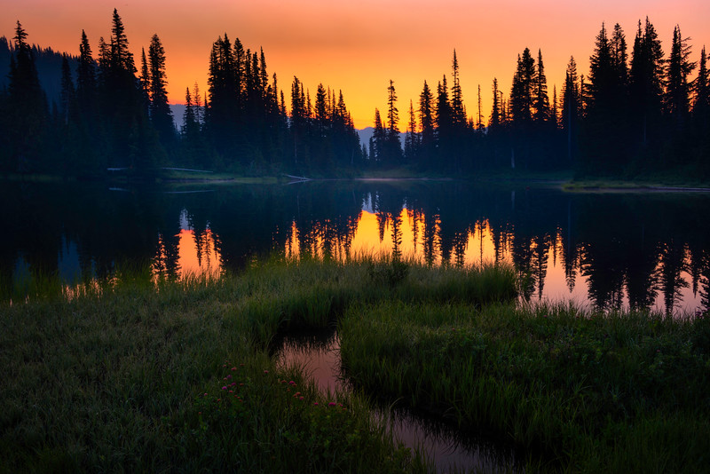 Red Bloody Sky Reflections - Reflection Lakes, Mt Rainier NP, WA