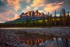 Castle Rock Sunset Reflections Castle Rock, Banff National Park, Alberta, Canada