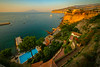 Hotel Resorts Along The Coast At Sunset Sorrento, Italy