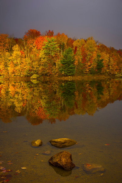 A Glimmer Of Light Shines On Shoreline Color - Vermont