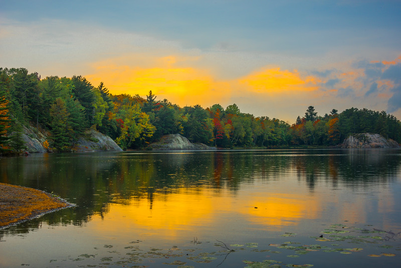Sunset Colors Above George Lake - Algonquin Provincial Park, Nipissing, South Part, Ontario, Canada