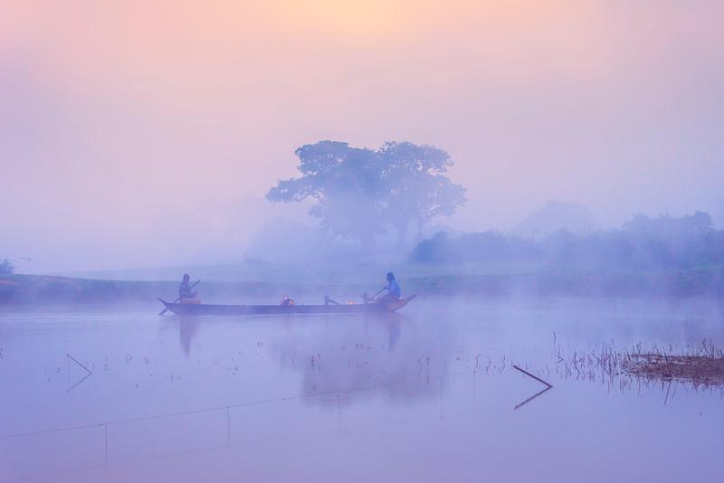 Fishermen Along The River Kaziranga National Park, Assam, North-Eastern India