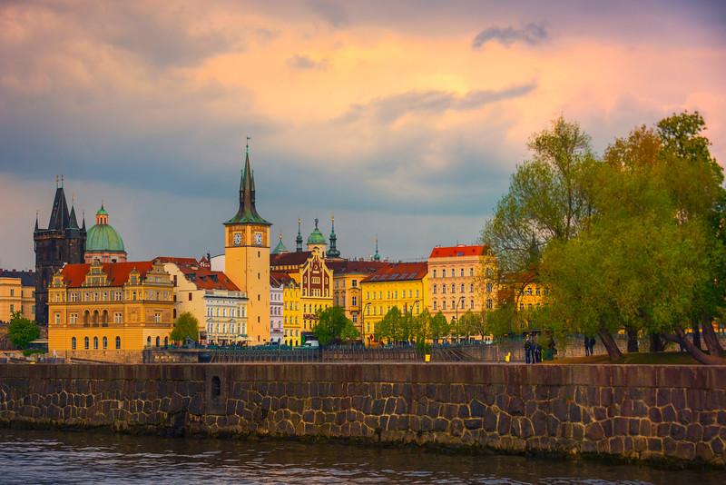 Sunset Pinks Over The Center Of Prague