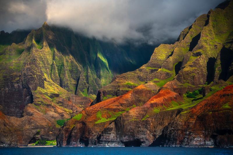 Side Light Bouncing Off The Cliff Walls Of Na Pali - Na Pali Coastline, Kauai, Hawaii