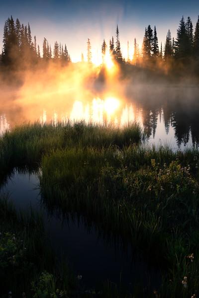 S Curve Creek Leading Into Morning Light Lake - Mount Rainier National Park, WA