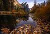 Creekside And Three Brothers From Tahiti Beach - Lower Yosemite Valley, Yosemite National Park, California