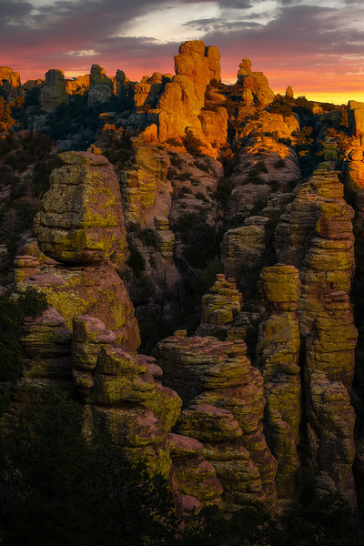 Light Glow Break Through The Clouds - Chiricahua National Monument, Arizona