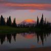 Tipsoo Lake Sunrise Pink Reflections - Tipsoo Lake, Mt Rainier NP, WA