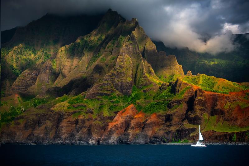 Sailing Into The Abyss - Na Pali Coastline, Kauai, Hawaii
