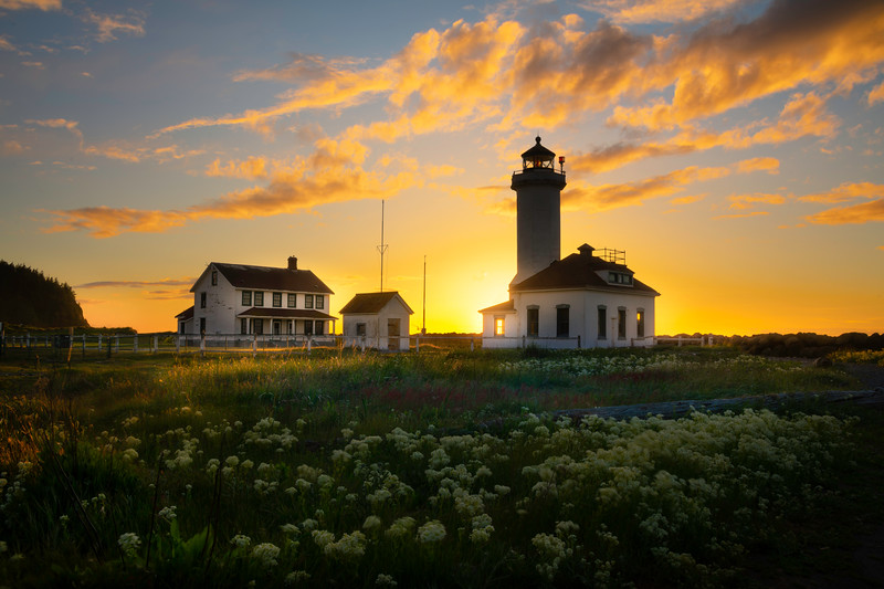 Point Wilson Lighthouse and Sun Through Window - Point Wilson Lighthouse, Fort Worden State Park, WA