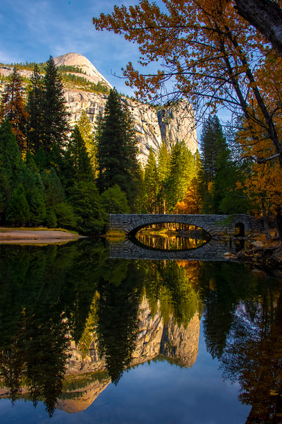 North Dome Reflected With Stoneman Bridge - Lower Yosemite Valley, Yosemite National Park, California