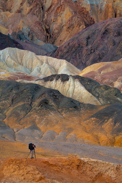 Photographer In The Midst Of The Color - Death Valley National Park, Eastern Sierras, California