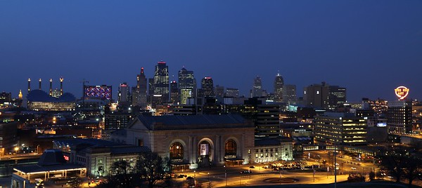 Kansas City Skyline during Princess Di Exhibition Party at Union Station.