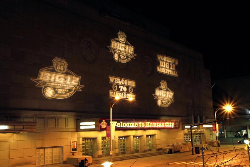 Front of Municipal Auditorium in KC during big 12 Tournament.