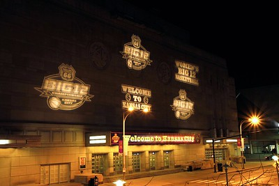 Front of Municipal Auditorium in KC during big 12 Tournament.
