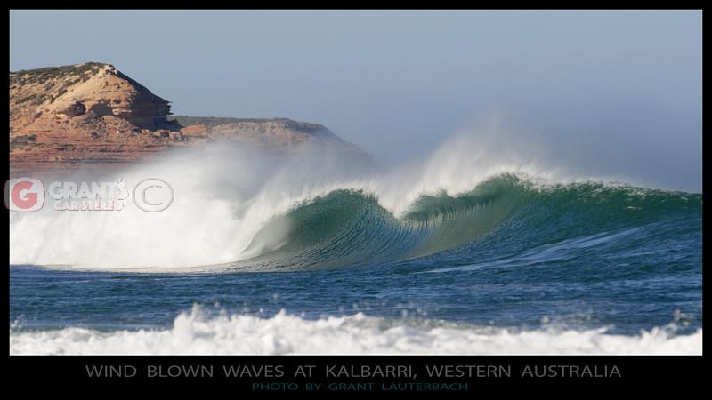 Wind blown waves near Red Bluff  Kalbarri, Western Australia.