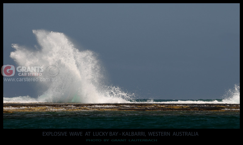 A wave hits the reef at Lucky Bay, Kalbarri in Western Australia like an explosive chage.