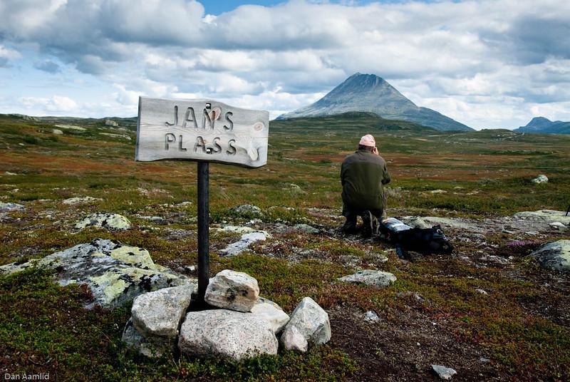 Jans plass med utsikt til Gaustatoppen Hardangervidda