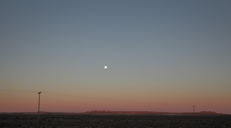 Moon rise during sunset, Loxton, South Afica