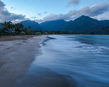 Hanalei Bay at dawn, Hanalei, Kauai, HI.