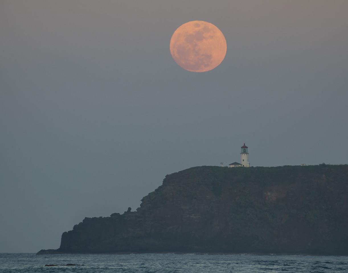 Moonrise over Kilauea Lighthouse, Kauai, HI.