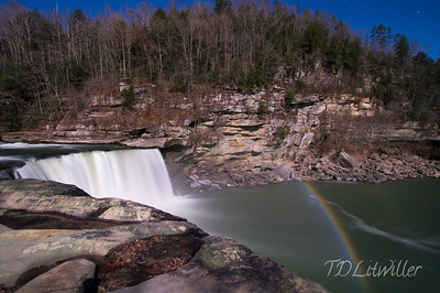 Moonbow taken at 8:30pm.  See the stars?  Cumberland Falls.