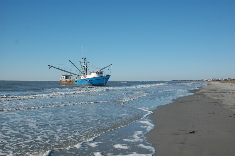 Beached shrimp boat