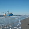 Beached shrimp boat