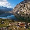 Lower Palisades Lake, Mt. Bolton Brown, Mt. Prater, Kings Canyon National Park.